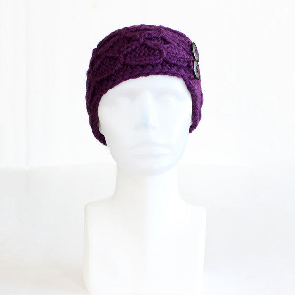 Dark Purple Crisscross Double Button Knit Headband
