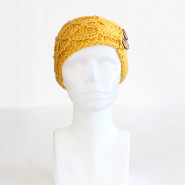 Honey Yellow Crisscross Double Button Knit Headband