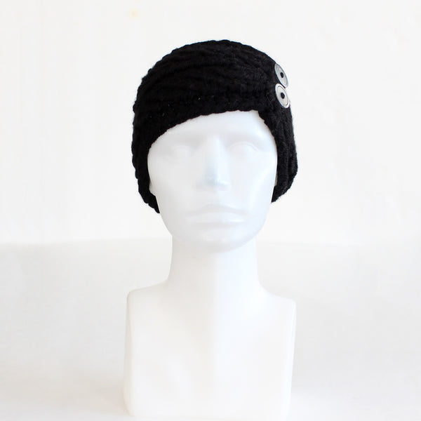 Black Twist-Style Knit Headband with Buttons