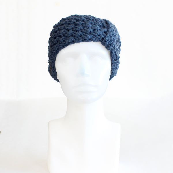 Denim Blue Bow-Style Knit Headband