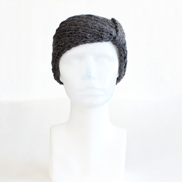 Charcoal Gray Bow-Style Knit Headband