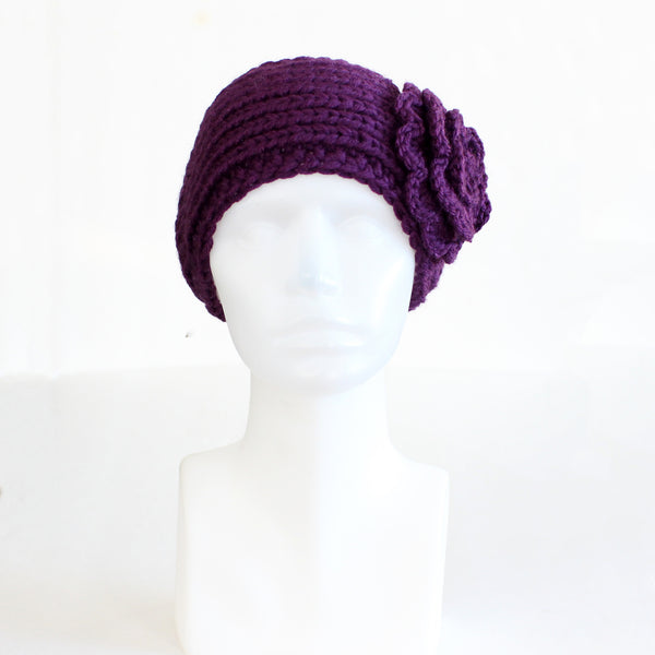 Purple Buttoned Knit Headband with Flower