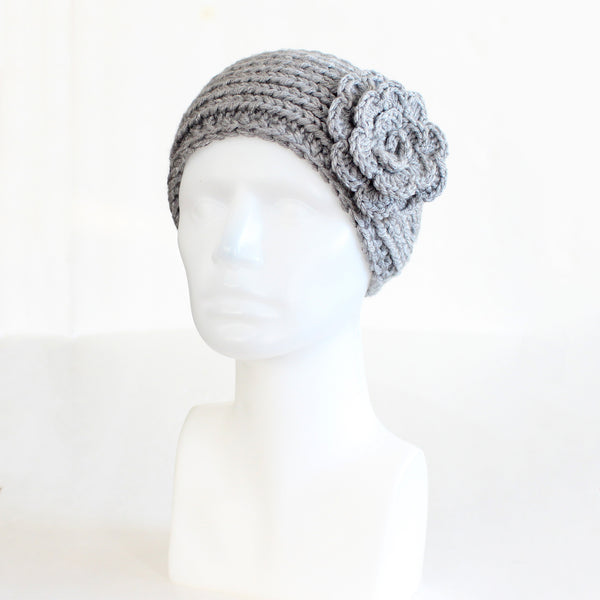 Light Gray Buttoned Knit Headband with Flower