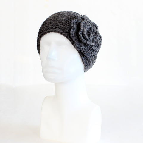 Charcoal Gray Buttoned Knit Headband with Flower