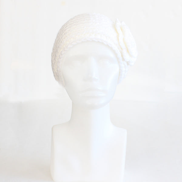 White Buttoned Knit Headband with Flower