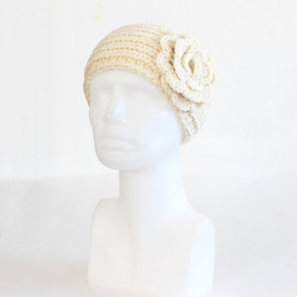 Beige Buttoned Knit Headband with Flower