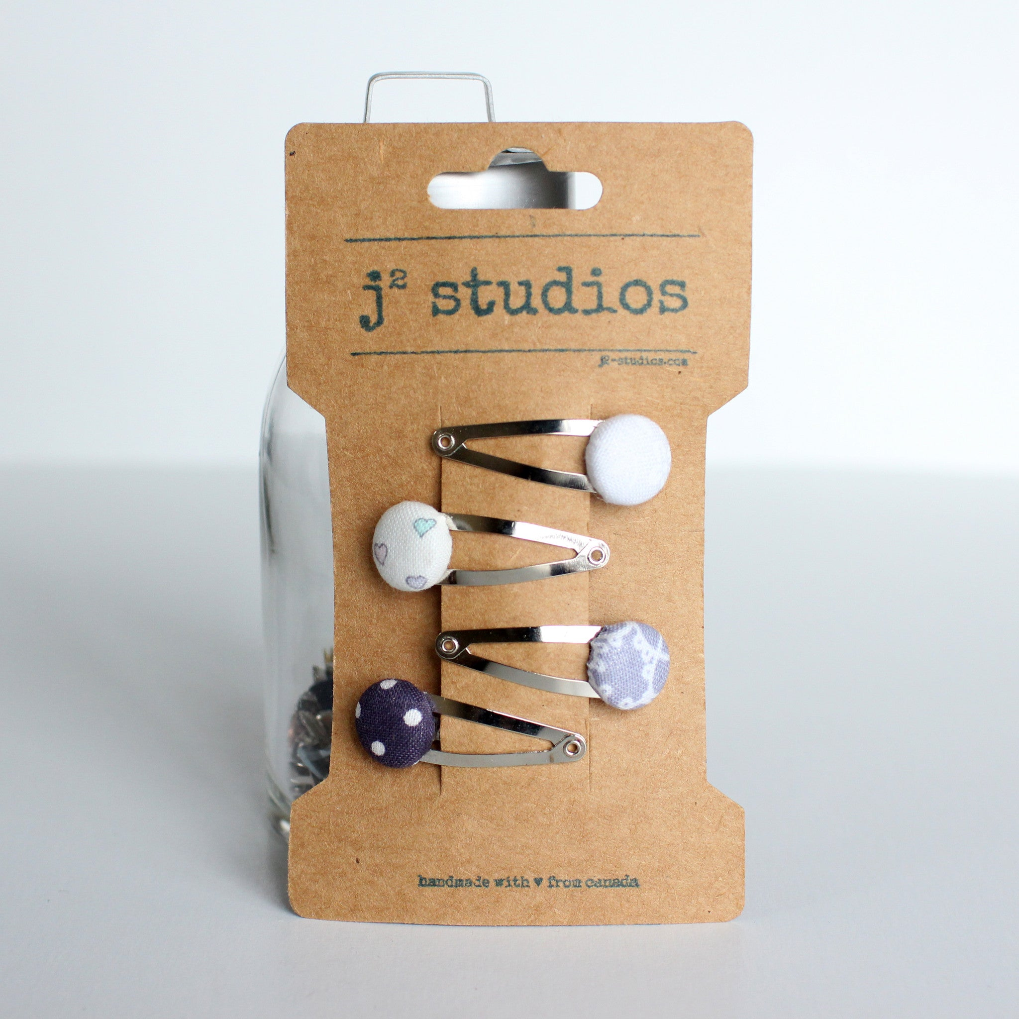 Purple Set - Fabric Covered Buttons Snap Clips