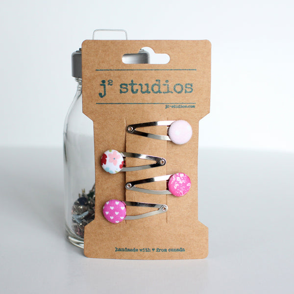 Pink Fabric Button Hair Clips
