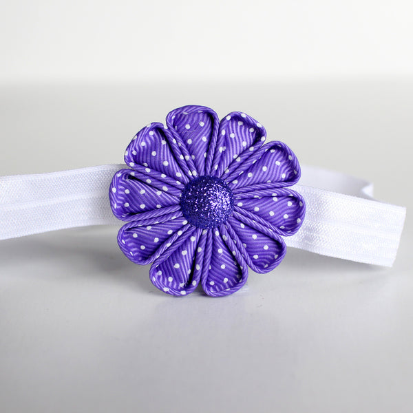 Purple with White Polka Dot Fabric Flower Headband
