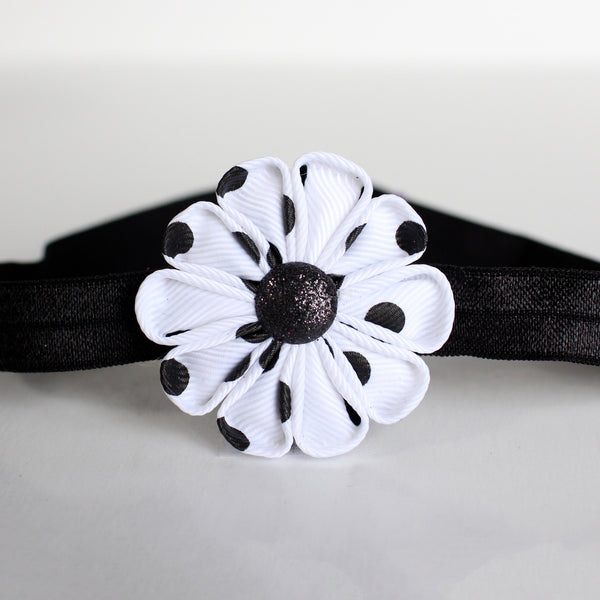White and Black Polka Dot Fabric Flower Headband