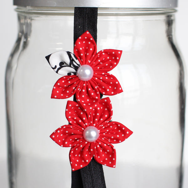Red Polka Dot Flower Headband