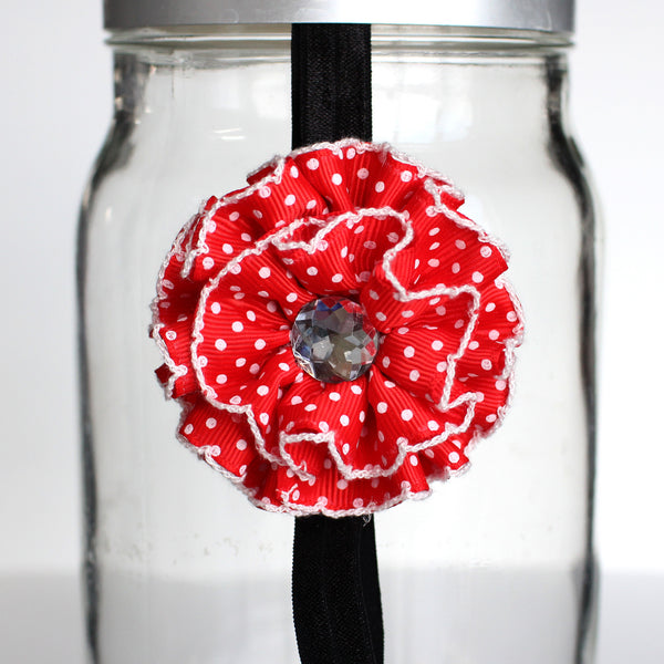 Red and White Polka Dot Ruffle Flower Headband