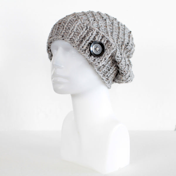 Womens Slouchy Knit Toque with Buttons