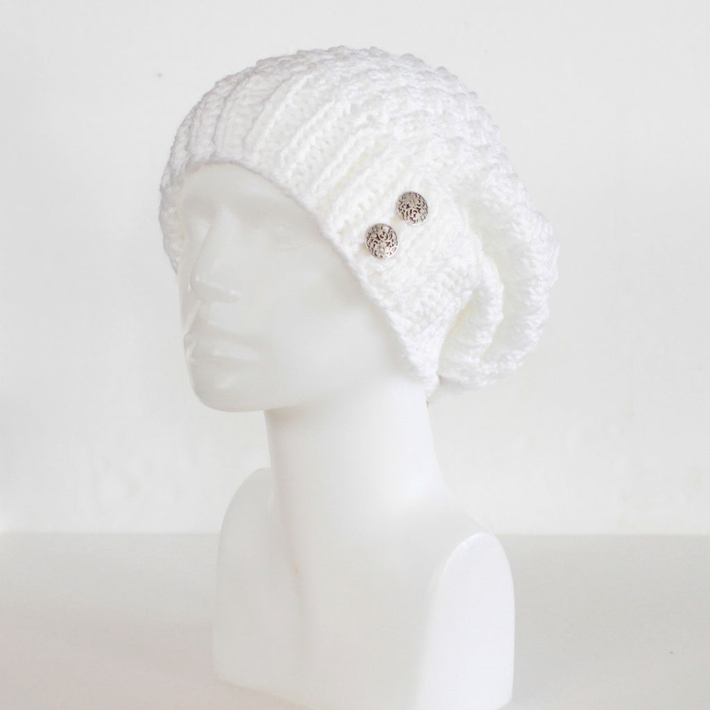Womens Slouchy Knit Toque with Buttons - Solids