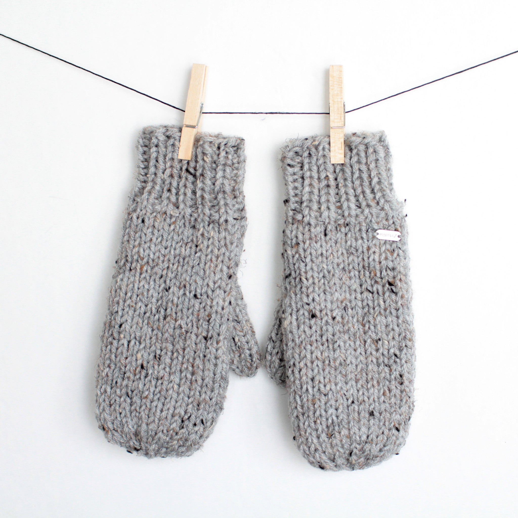 Knit Speckled Gray Mittens with Fleece Lining