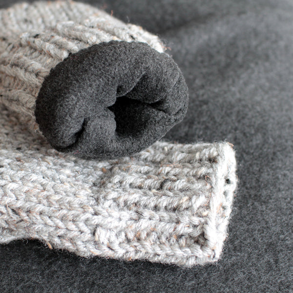 Knit Mittens with Fleece Lining