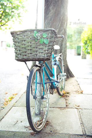 Fine art print of an azure blue bike parked in a charming village in England. Bicycle photography.