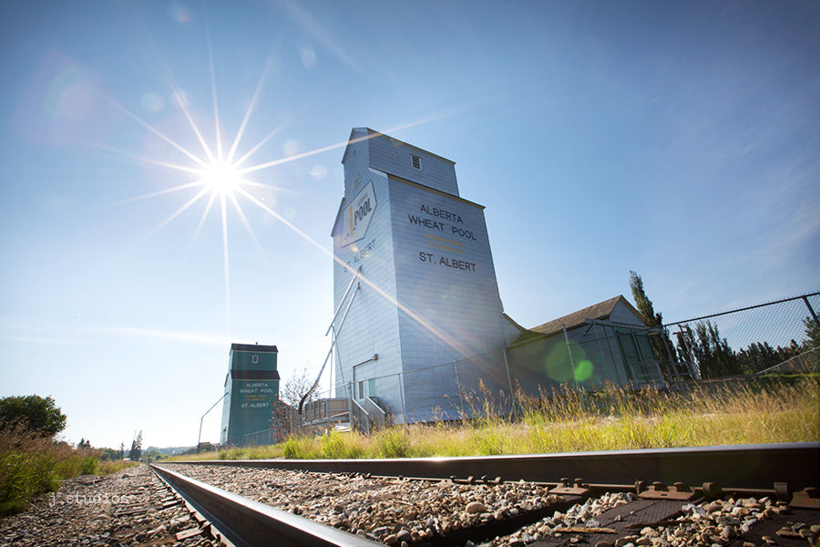 Image of the twin Alberta Wheat Pool grain elevators in St. Albert, Alberta. Heritage themed photography.
