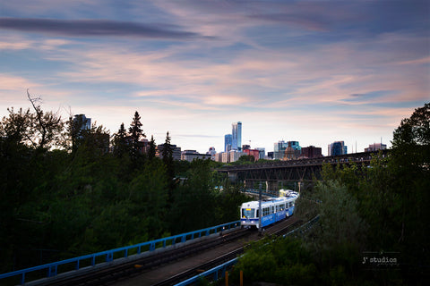 Art print of the Edmonton LRT transit crossing the North Saskatchewan River on Dudley Menzies beside High Level Bridge.. Best photography of Edmonton.