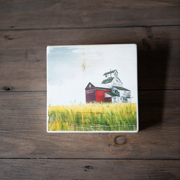 Photo Block featuring pretty picture of Grain Elevator in Canadian Prairies. Handmade in Edmonton, Alberta, Canada by Larry & Christina Jang of J² Studios Photography & Craft. Home or office decor ideas for table, desk, wall or shelf.