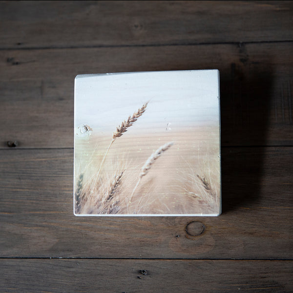 Photo Block featuring Stalks of Wheat heads. Handmade in Edmonton, Alberta, Canada by Larry & Christina Jang of J² Studios Photography & Craft. Decor ideas for rustic modern homes or Farmhouses.