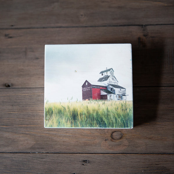 Photo Block featuring Alberta Pacific Grain Elevator in Raley, Canadian Prairies. Handmade in Edmonton, Canada by Larry & Christina Jang of J² Studios Photography & Craft. Home or office decor ideas for table, desk, wall or shelf.