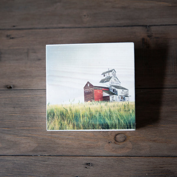 Photo Block featuring oldest grain elevator in Alberta. Handmade in Edmonton, Alberta, Canada by Larry & Christina Jang of J² Studios Photography & Craft. Decor ideas for rustic modern homes or Farmhouses.