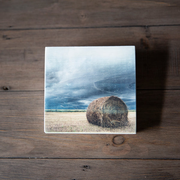 Photo Block featuring Hay Bale sitting on a farmers field in Canadian Prairies. Handmade in Edmonton, Alberta, Canada by Larry & Christina Jang of J² Studios Photography & Craft. Masculine decor ideas for rustic modern homes or farmhouse.