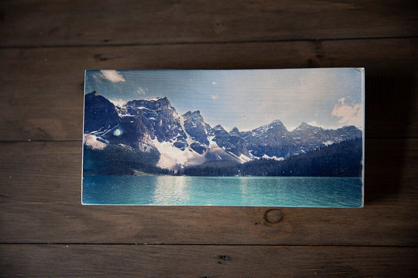 Photo Block featuring Emerald waters of Moraine Lake & Valley of the Ten Peaks, in Banff National Park, Canadian Rockies. Handmade in Edmonton, Alberta, Canada by Larry & Christina Jang of J² Studios Photography & Craft. Unique decor ideas for rustic modern homes or farmhouse.