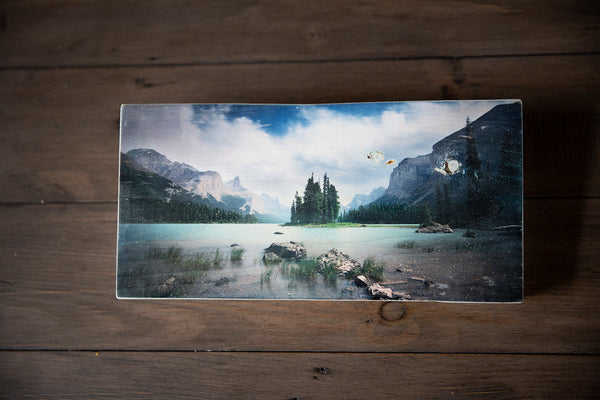 Photo Block featuring Spirit Island in Maligne Lake in Jasper National Park, Canadian Rockies. Handmade in Edmonton, Alberta, Canada by Larry & Christina Jang of J² Studios Photography & Craft. Decor ideas for modern rustic homes.