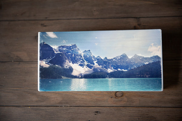 Photo Block featuring iconic Moraine Lake in Banff National Park, Canadian Rockies. Handmade in Edmonton, Alberta, Canada by Larry & Christina Jang of J² Studios Photography & Craft. Decor ideas for home or office, desk, table or shelf. Souvenir of the Rockies.