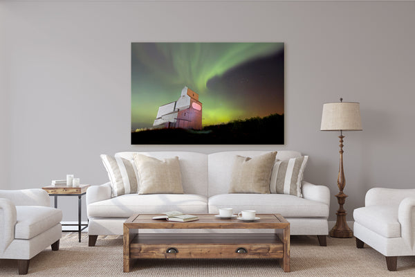 Northern Lights Over Legal Alberta Picture hanging in Rustic Modern Living Room