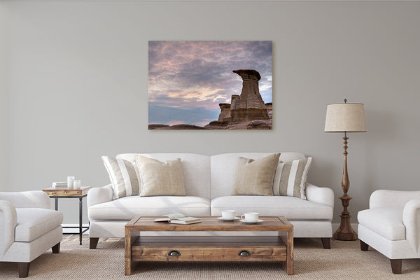 Rustic wall decor. Hoodoos in Canadian Badlands Canvas by Larry Jang.
