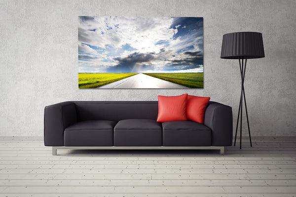 Modern living room decor ideas big canvas of  highway going through canola fields.