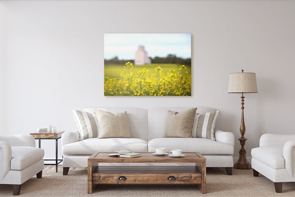 Farmhouse decor ideas. Canvas print of canola flowers on display in rustic living room.