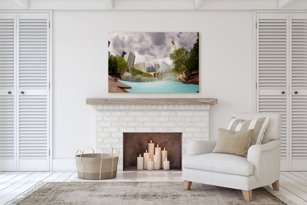 Living Room with Fireplace decor ideas.  Edmonton City Hall print hanging on the mantle.