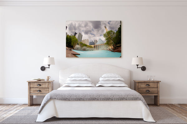 Edmonton City Hall canvas hanging on bedroom wall of modern farmhouse.
