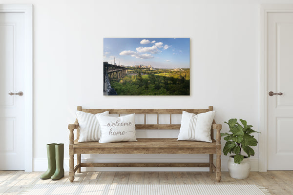 Edmonton River Valley art print hanging on entryway wall of rustic modern farmhouse.