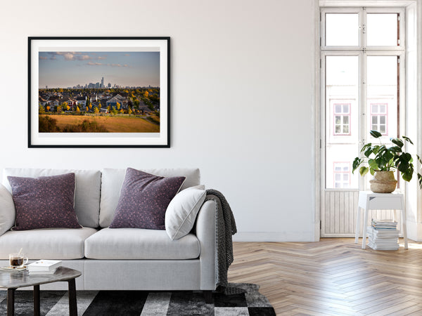 Edmonton skyline framed print. Modern decor ideas for urban walls.
