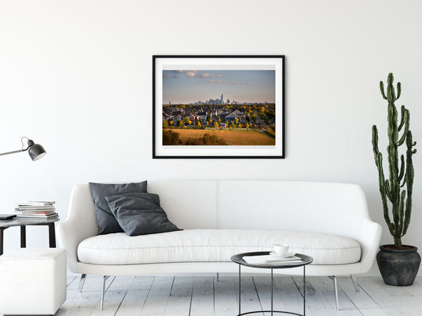 Framed print of Edmonton in a modern condo. Apartment decor ideas.