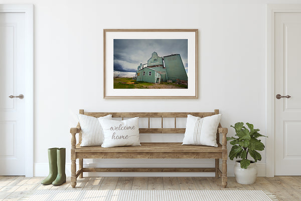 Framed print of Fort Macleod in rustic modern home. Alberta themed Wall decor by Larry Jang.