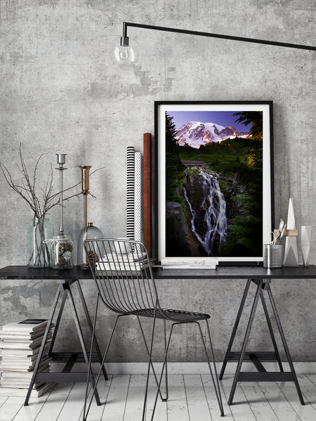 Framed Print of Mount Rainier & Myrtle Falls. Mountain and Waterfall themed Wall Decor by Larry Jang.