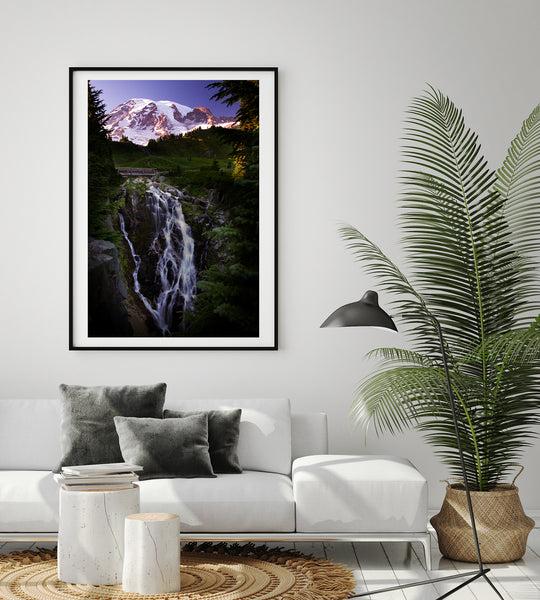 Framed Print of Mount Rainier & Myrtle Falls at sunset in modern living room. Mountainscapes by Larry Jang.