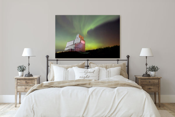 Northern Lights Grain Elevator Picture hanging in Rustic Modern Bedroom