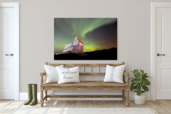 Northern Lights Canvas featuring Legal Grain Elevator