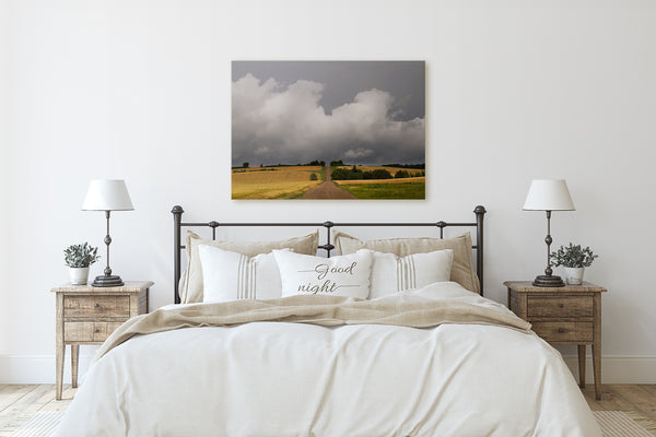Bedroom wall decor ideas. Big canvas of prairie summer storm.