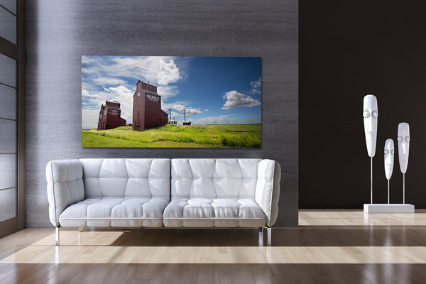 Canvas print of Alberta prairie town of Rowley in a modern living room.