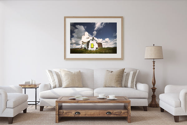 Gorgeous framed print of Wrentham Grain Elevator. Rustic Modern Home Decor.