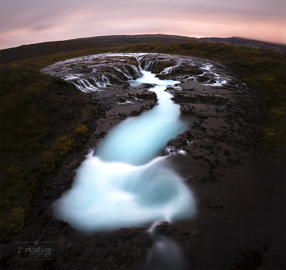 Bruarfoss is an art print a waterfall with turquoise and milky water in South Iceland. Icelandic Landscape Photography.