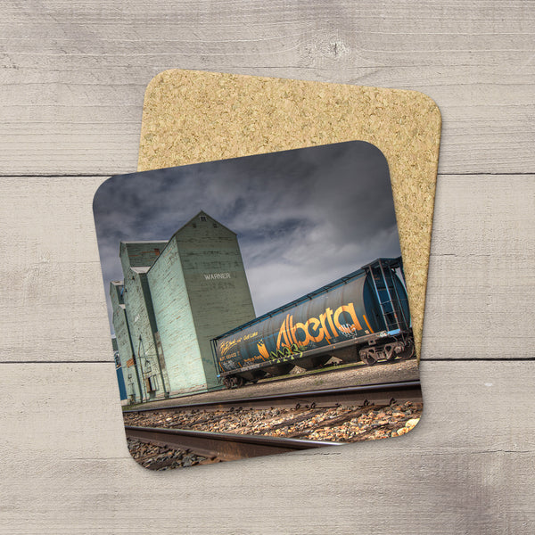 Drink Coasters of elevator row & Alberta Hopper train car in Warner by Larry Jang.